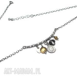 Numizmaty - naszyjnik , srebro, oksydowane, moneta, swariovski, hematyt