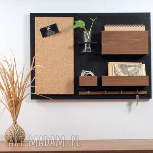 organizer ścienny, czarny orzech, drewniany, organizer, na ścianę