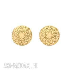 złote kolczyki medaliony - pozłacane złocone
