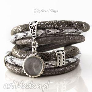 lume handmade bransoletka rzemienna steel, oplatana, stalowa, szeroka, zawieszka