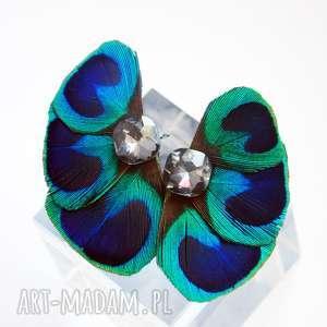 kolczyki z pawich piór,,skrzydła motyla, pawie, pióra, skrzydła, motyl, ślub, boho