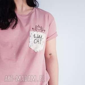t-shirt wild cat S - ,koszulka,t-shirt,kot,jednorożec,kieszonka,haft,