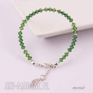 Dragonfly, zielona bransoletka z kryształów Swarovski - Ręcznie zrobione