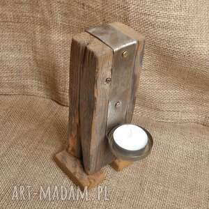 świeczniki świecznik drewniany, stare drewno, loft, industrialny /3/