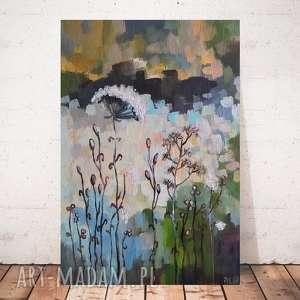 abstrakcyjna łąka -obraz akrylowy formatu 20/30 cm, obraz, łąka, abstrakcja