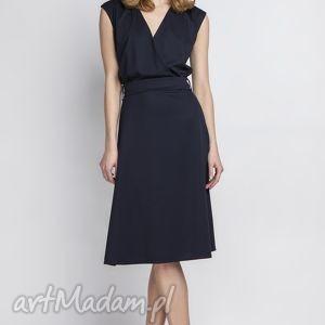 sukienka, suk125 granat, kopertowa, granatowa, zmysłowa, klasyczna, wesele, kobieca