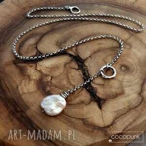 nowoczesny naszyjnik z dużą perłą - srebro 925, perłą, duża perła, srebrny
