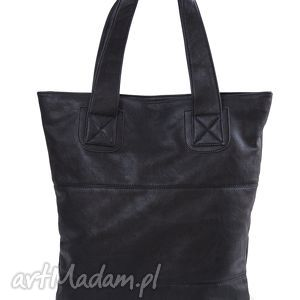 na ramię torba v 10-01 black, torba, torebka, duża, pojemna, miejska