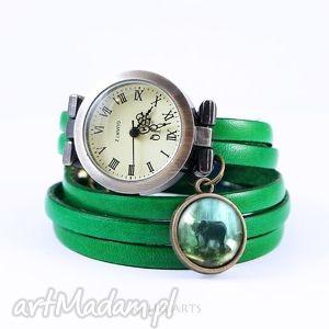 bransoletka, zegarek - słoń skórzany, zielony, antyczny brąz