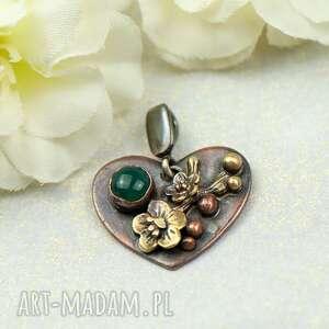 serce z zielonym agatem wisiorek c855-3, miedziane serce, na prezent