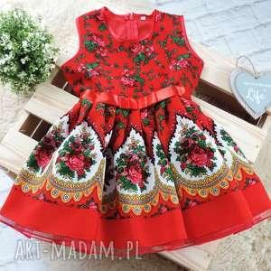 sukienka góralska dziecięca tiulowa cleo roz 110/116 folkowa, sukienka