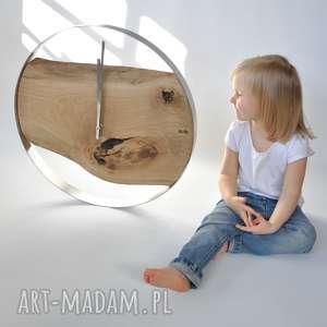 zegary zegar loft - dębowy duży w stalowej obręczy 55cm, zegar, drewno, stal