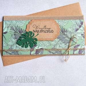handmade kartki uniwersalna kartka kopertówka - monstera tropiki
