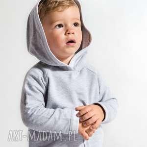 Szara cienka bluza z kapturkiem i dużą kieszenią!, moda
