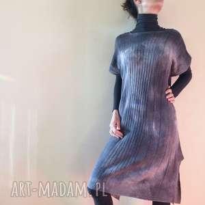 Wełniana tunika ręcznie barwiona w odcieniach szarości tuniki