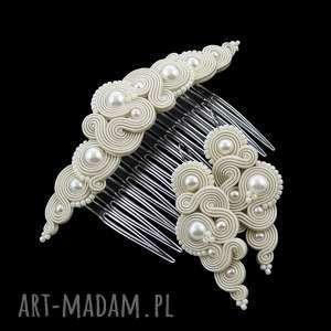 komplet ślubny soutache milino pearl, sutasz, soutache, romantyczny, kobiecy, perłowy