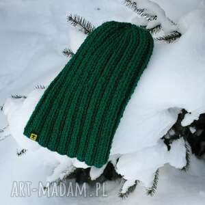 handmade czapki czapka ściągaczowa - butelkowa zieleń