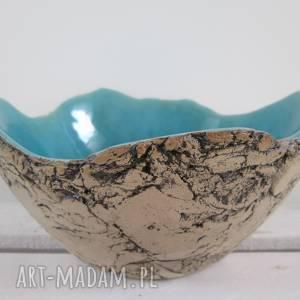 ceramika artystyczna miska sardynia rozmiar m, miseczka, jak skała, turkusowa