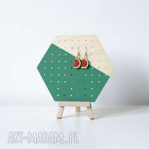 Mini green heks stojący organizer na kolczyki, ekspozytor