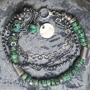 Prezent Bransoletka srebrna z turkusem afrykańskim, srebro-bransoletka, srebro-turkus