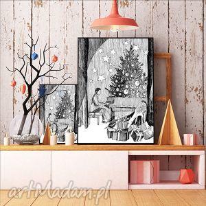 w zimowym lesie art print a4, ilustracje, bożónarodzeniowe, świąteczne, plakaty