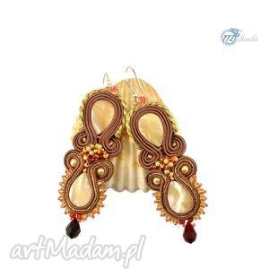 Sutaszowe kolczyki z masą perłową - ,kolczyki,długie,soutache,sutasz,