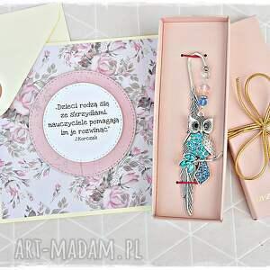 handmade zakładki elegancki prezent dla nauczycielki - zakładka sowa i kartka