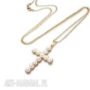 unikalny, cross /perle/ - naszyjnik, krzyż, ki ka, metal, perły naszyjniki