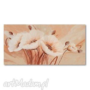 białe maki, obraz akrylowy