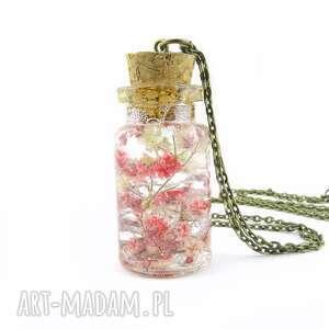 0912-mela/ wisiorek buteleczka z żywicą i kwiatami, wisiorek, butelka, kwiaty