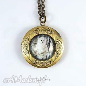 ręczne wykonanie naszyjniki sekretnik, medalion, naszyjnik - sowa otwierany
