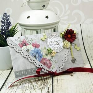 Kartka ślubna- polne kwiaty, ślub, wesele, kopertówka,