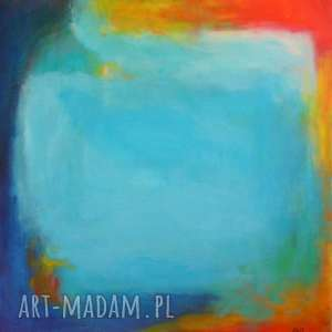 Obraz na płótnie - ABSTRAKCJA 40/40 cm, abstrakcja, pomarańcz, żółty, turkus