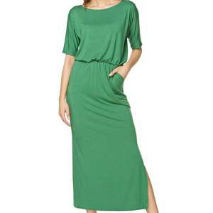 sukienki sukienka maxi z kieszeniami, ściągnięta gumką, f101, zielony