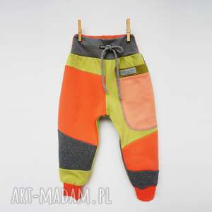 hand-made patch pants spodnie 74 - 104 cm orangina