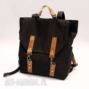 Plecak czarny, plecak, karabinki, bawełna, skóra