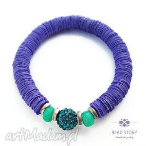 elastyczna bransoletka fioletowo emeraldowa, lato, kolor, elastyczna, beadstory