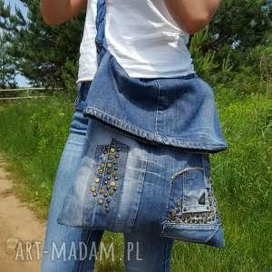 Torba Z Jeansu Plecionym Uchwytem, eko-torba, jeans, ćwieki, bawełna, plecionka