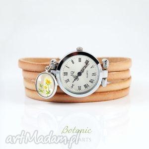 Prezent Bransoletka, zegarek - Wiesiołek skórzany, naturalny, bransoletka, kwiatek