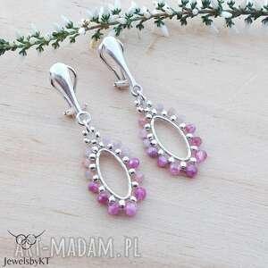 klipsy rubinowo różowe - klipsy, srebrna biżuteria, srebrne geometryczny