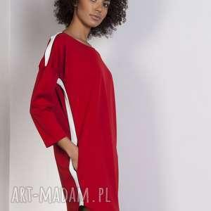 sukienki sportowa sukienka z lampasami, suk150 czerwony, lampasy, sukienka, oversize