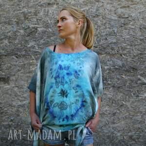 niebieska tunika jedwabna, jedwab, unikat, eco, prezent, bluzka, na lato