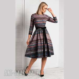 sukienka marie 3/4 midi samira, sukienka, midi, kolorowa, rozkloszowana