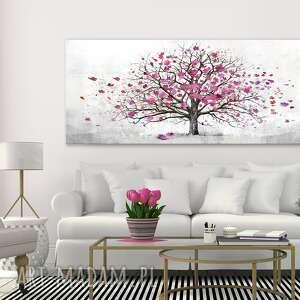 obraz drukowany na płótnie - abstrakcyjne drzewo w różu 150x60cm 02490