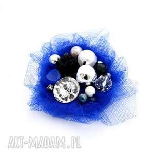 broszka kobalt - broszka, tiul, kobalt, niebieska, szafir