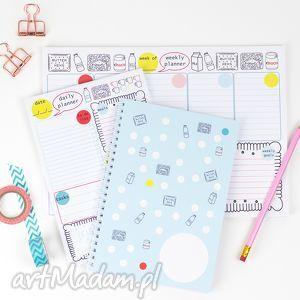 hand-made notesy zestaw planerów, planer dzienny i tygodniowy,