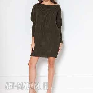oversizeovy sweter-tunika, swe135 zielony, tunika, do pracy, szkoły, wysokiej