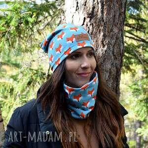 czapka z liskiem niebieska beanie ciepła wiosenna, liski, lis, lisia czapka, prezent