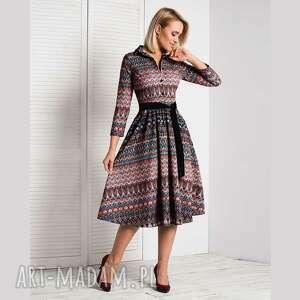 sukienka sabina midi samira, szmizjerka, midi, we wzory