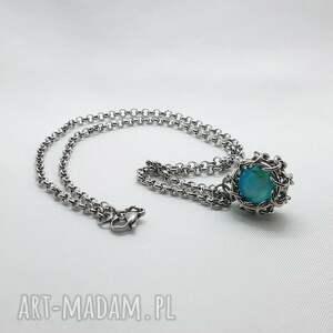 medalion chainmaille ze stali szlachetnej - agat niebieski, agat